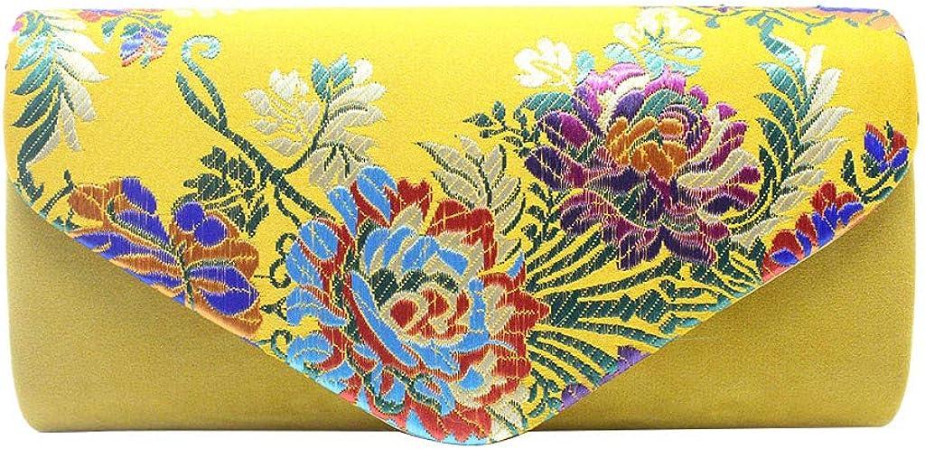 Leewa Women Evening Clutch Flap Magnet Envelope Purse Chinese Style Embroidery Handbag