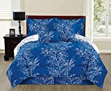 EMPIRE 6 Piece Reversible Branches Comforter Set New Bedding (King, Royal Blue)
