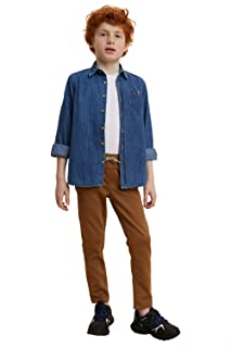 DeFacto Side Pocket Drawstring Elastic Waist Straight Cut Pants for Boys - Camel, 8-9 Years