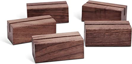 UNIQOOO 5 Pack Place Card Holders | Rustic Walnut Wood Escort Cards Display Stands | Table Number Sign Stand | Photo Stand | Perfect for Retail Shop Cafe Home Wedding Dinner Party Events Decoration