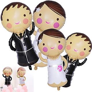 BETOY - Palloncini per matrimonio, 4 pezzi, decorazione per palloncini da matrimonio, in stagnola, per la decorazione di n...