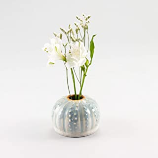 Georgetown Pottery Handmade Sea Urchin Ikebana Vase, Bud Vase, Air Plant Pot, Candlestick Holder, Ivory and Blue Oribe, Ma...