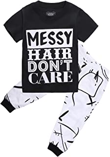 Little Girls Short Sleeve Messy Hair Don't Care Letters Print T-Shirt and Pants Outfit Summer