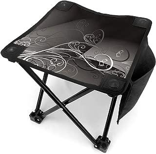 Black White Swirl Portable Folding Stool Camping Stool Folding Chair for BBQ,Camping,Fishing,Travel,Hiking,Garden