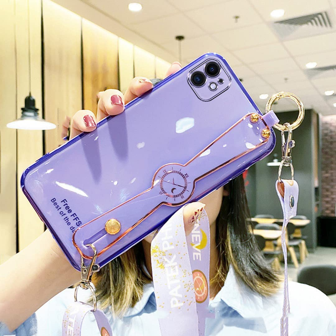 ISYSUII Plating Case for Samsung Galaxy A10 with Wrist Strap Band Kickstand and Crossbody Lanyard for Women Girls Shiny Cute Pretty Protective Cover Anti-Scratch Flexible Case,Purple
