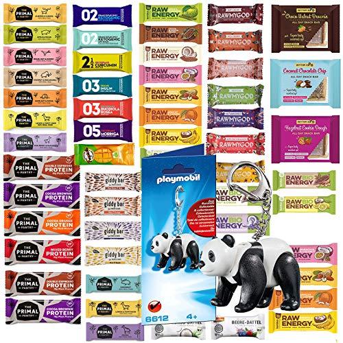 Veganer Mix 2021 Gute Vorsätze - 24 glutenfreie Riegel ohne Zuckerzusatz mit Playmobil Panda