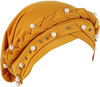 Fxhixiy Women Hijab Beading Pearl Braid Turban Hat Head Scarf Cancer Chemo Beanies Bandana Headwrap Cap