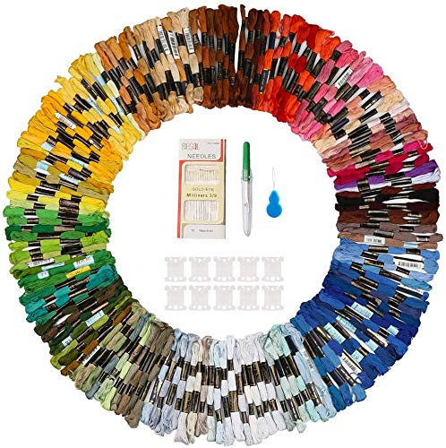 Hilo de Punto de Cruz 150 Tipos de Colores Bordados Hilo de Bordar de Algodón Kit con 10 Tablero Blanco de la Bobina y Aguja para Costura Punto de Cruz, Kit de Herramienta de Punto de Cruz