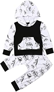 Toddler Baby Boy Cotton Outfit Set Casual Dinosaur Printing Long Sleeve Hoodie Long Trouser 2 Pics for Autumn Winter