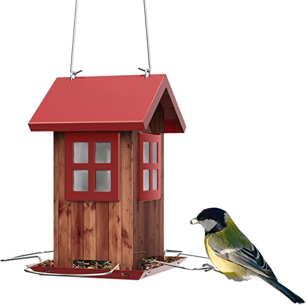 Kingsyard Bird Feeder House For Outside Hanging All Metal Construction Built In Drainage Holes To Keep Bird Seed Dry And Fresh Extra Rustproof S Hook