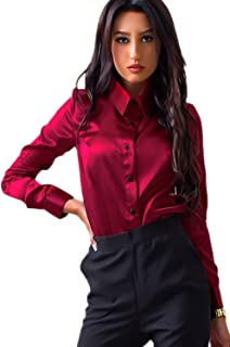 16f43e459ee Zojuyozio Women Casual Collared Button up Satin Office Blouses Shirt Top Tee