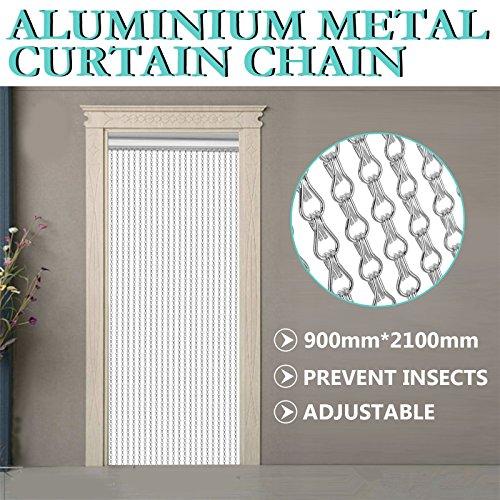OrangeA Aluminum Metal Chain Curtain 84x35 Inch Silver Chain Curtain Door Screen Curtain (Metal Chain Curtain)