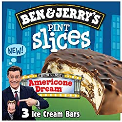 Ben & Jerry's Pint Slices for a creamy, non GMO frozen dessert Americone Dream kosher certified 3 co