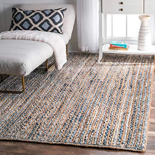 InicioDecorBoutique Indischer Teppich, handgefertigt, geflochten, Baumwolle, Denim, Jute, 120 x 180 cm