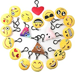Emoji Keychains Plush Mini Pillow for Home Decoration/Kids Birthday Party Supplies Favor/Novel Toy/Goody Bag Filler/Easter Egg Stuffed for Girls and Boys, 20 Pack