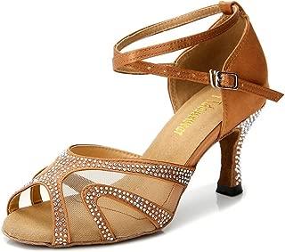 Rhinestones Ballroom Dance Shoes Women Latin Salsa Bachata Performance Dance Shoes Suede Sole