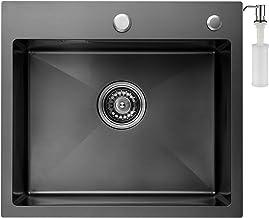 /Évier de Cuisine en Granit Beige Lavabo 1,5 bac 74 x 47 cm /Évier /à Encastrer de Primagran 5 couleurs et option antibact/érienne Siphon Classique
