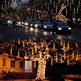 Vmanoo LED Outdoor Lights 8 Tube Meteor Shower Rain Lights Solar Powered Icicle Raindrop Snow Falling Lights Cascading Lighting for Garden Outdoor Patio Holiday Wedding Party Decoration (Warm White)