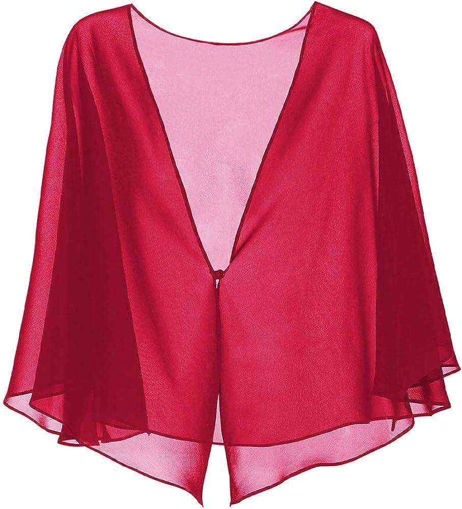 Trendy XU Women Summer Chiffon Cardigan Cape Blouse Thin Shawls for Dresses
