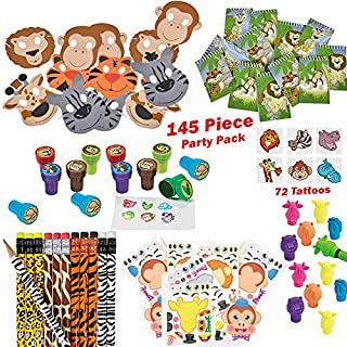 144 Piece Jungle Theme Party Supplies for 12 Kids | Zoo Animal Party Favors, Safari Birthday Pack | Everything You Need: Party Favors, Games, Toys for Boys and Girls