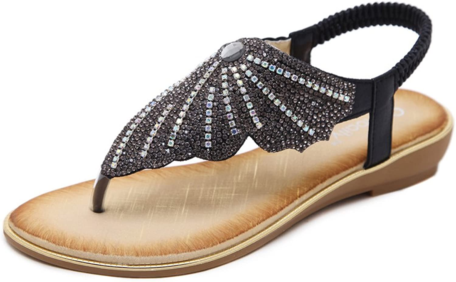 Baviue Womens Fashion Leather Jeweled Thong Summer Sandals