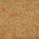 Hadson Craft Freedom Batik - Tela de retazos para manualidades, diseño de flores de melocotón, 114 cm de ancho, precio por cuarto de metro (0,25 cm), Orange Green & Peach, talla única
