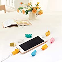 Cosweet 8 Pcs Phone Cable Cord Saver Protector- Cute Animal USB Cord Prevents Breakage Support Accessory Phone Cables