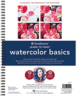 Strathmore 200 Learning Series Watercolor Basics Pad, 25-151, White, 9-x-12-Inch