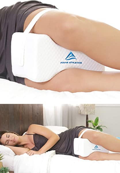 Prime Athletics Orthopedic Knee Pillow For Sciatica Back Pain Relief Leg Pillow Side Sleeper Pillow Pregnancy Hip Pain Memory Foam Wedge Contour Includes Removable Adjustable Leg Straps Bag
