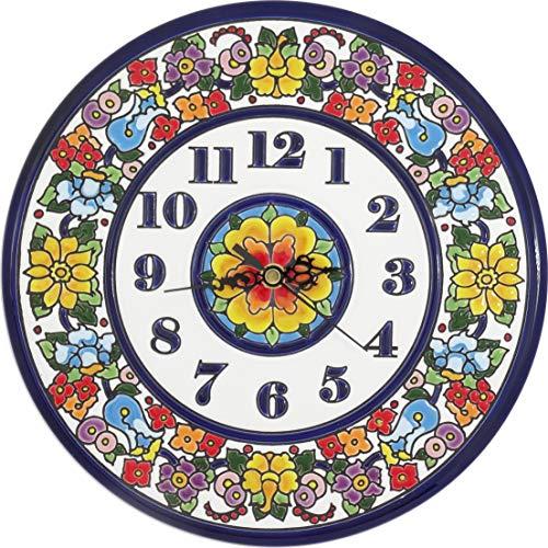 Grabado y Cerámica Española Reloj Decorativo para Hogar, Pintado a Mano con la técnica de la Cuerda Seca 25 CM. Cerámica Andaluza 62504