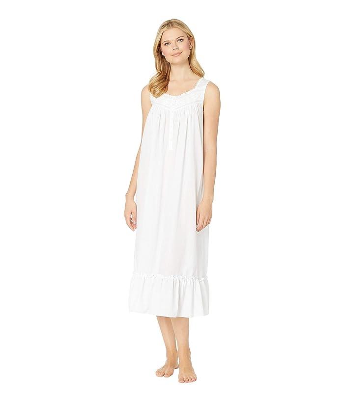Eileen West Cotton Woven Sheer Stripe Ballet Nightgown (Solid White) Women