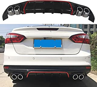 NINTE Rear Diffuser for 2013-2018 Ford Focus S/SE/SEL/Titanium Model - ABS Painted Gloss Black with Red Line PP Rear Bumper Lip