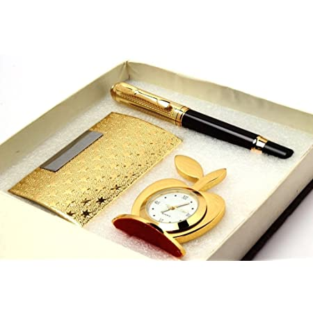 MSA Jewels Gold Plated Office Set Corporate Gift Set Personalized Pen, Visiting Card Holder And Apple Shape Table Clock