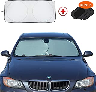 BOKA Small Car Windshield Sun Shade - Blocks UV Rays Sun Visor Protector, Car Sunshade Keep Your Vehicle Cool, Easy to Use (Classic 59 x 27.55 inch)