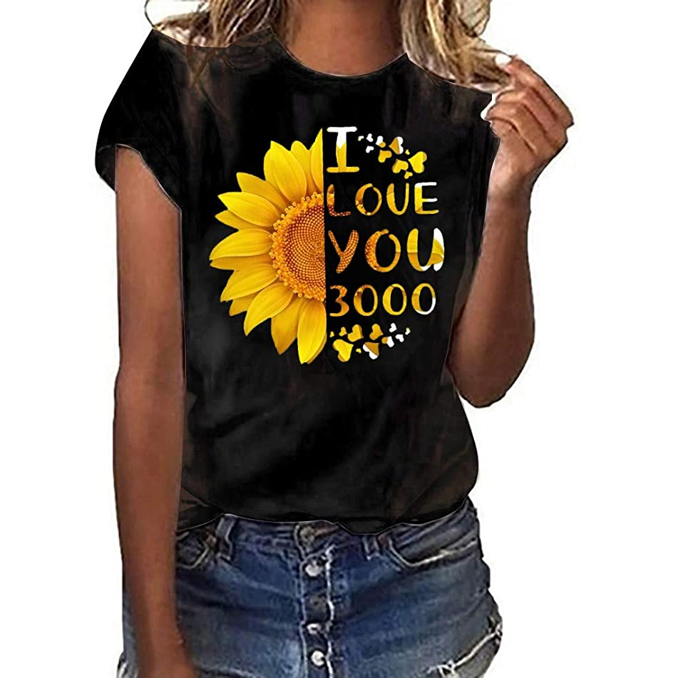 Tops for Women Plus Size Simayixx Teen Girls Summer Tee Shirts Short Sleeve Blouses Love 3000 Times Printed Tunic Top