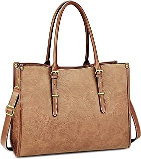 Laptop Bag for Women 15.6 Inch Waterproof Lightweight Leather Laptop Tote Bag Womens Professional Business Office Work Bag Briefcase Large Computer Bag Shoulder Handbag Brown