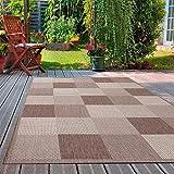 VIMODA Robuster Flachgewebe Teppich In- und Outdoor Tauglich, Maße:140 x 200 cm