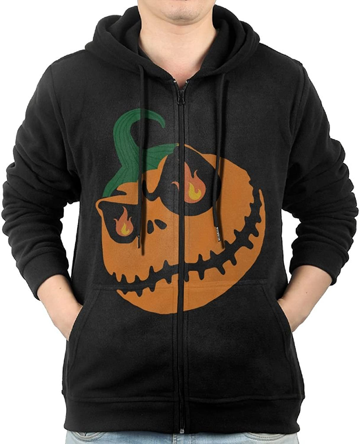 Halloween Pumpkin Sweater Shirt Zipper Jacket Breathable Hoody For Mens Fit Yoga Black