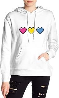 Pansexual Pixel Hearts LGBT Pride Hoodies Sweatshirt Adult Pullovers for Women