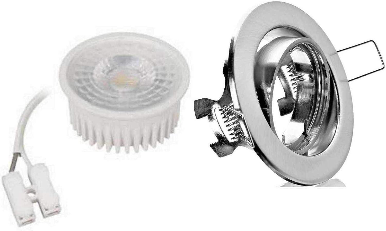 10xFlacher Led Flat Einbaustrahler Spot Lampe Deckeneinbauleuchte eisen gebürstet+Led Warmweiss 50° Spot 5W geringe Einbautiefe von 35mm 230Volt Anschlu
