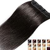 Extension a Clip Cheveux Naturel Rajout Monobande Une Pièce 100% Cheveux Humain Vrai Cheveux Remy #1B Noir Naturel - 40 cm (45g)