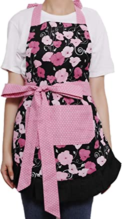 Aprons for Women Retro Vintage Cooking Aprons Plus Size with Extra Ties & Pockets,  (Red)