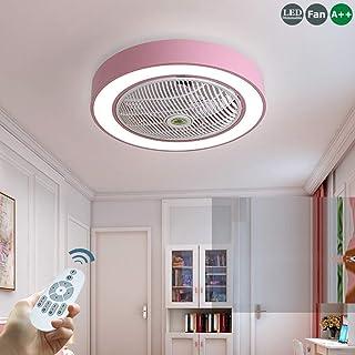 Ventilador De Techo Con Iluminación Luz LED Velocidad De Viento Ajustable Regulable Con Mando A Distancia 40W Lámpara De Techo Moderna Para Dormitorio Infantil Sala De Estar Bajo Ruido,Rosado
