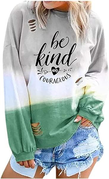 BXzhiri Sweatshirt For Women Oversized Women S Fashion Letter Gradual Long Sleeve Long Sleeve Round Neck Shirt Sweatshirts
