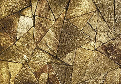 decomonkey Fototapete Steinwand Stein 400x280 cm XL Tapete Fototapeten Vlies Tapeten Vliestapete Wandtapete moderne Wandbild Wand Schlafzimmer Wohnzimmer Steintapete gold