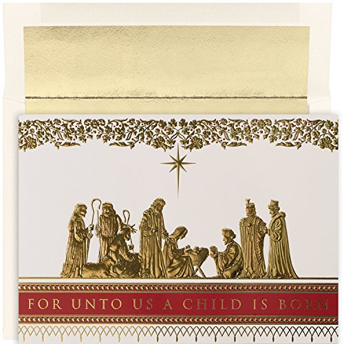 Masterpiece Studios Holiday Collection 16-Count Boxed Embossed Religious Christmas Cards with Foil-Lined Envelopes, 7.8' x 5.6', Manger Scene