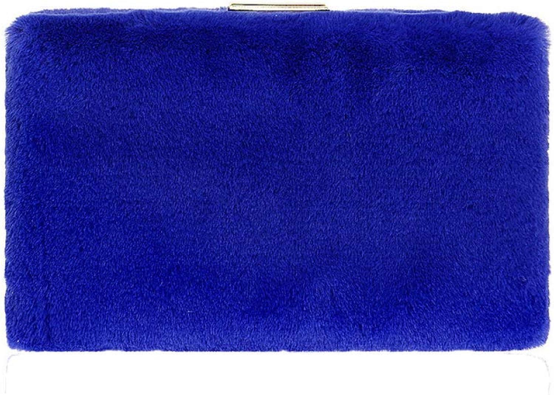 Ladies Handbag Ladies Fur Evening Bag Pearl Shoulder Strap Clutch Party Wedding Purse Handbags Chain Bag (color   blueee, Size   20  4  12cm)