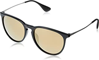 RAY-BAN RB4171F Erika Round Asian Fit Sunglasses, Shiny Black/Gold Mirror, Gold Mirror