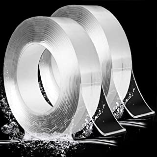Evance 2Rollos Reutilizable Nano Tape, Transparente Doble Cara Cinta Adhesiva de Pared Fuerte, Antideslizante de Cinta Adhesiva Lavable, para Pared, Cocina, Alfombra, Fijación de Fotos (10FT)