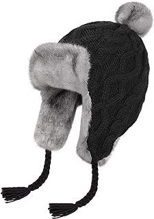 Womens Knit Peruvian Beanie Hat Winter Warm Wool Crochet Tassel Peru Ski Hat Cap with Earflap Pom